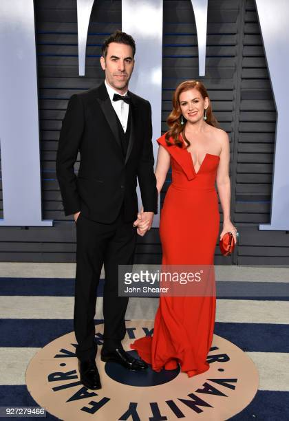 Actor Sacha Baron Cohen and actress Isla Fisher attend the 2018 Vanity Fair Oscar Party hosted by Radhika Jones at Wallis Annenberg Center for the...