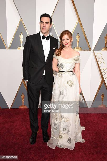 Actor Sacha Baron Cohen and actress Isla Fisher attend the 88th Annual Academy Awards at Hollywood Highland Center on February 28 2016 in Hollywood...