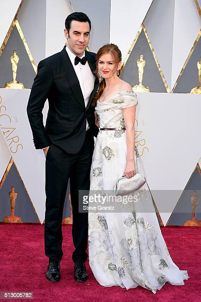 Actor Sacha Baron Cohen and actress Isla Fisher attendthe 88th Annual Academy Awards at Hollywood Highland Center on February 28 2016 in Hollywood...