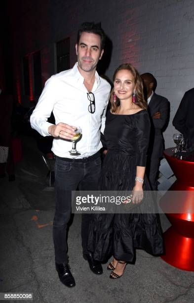 Actor Sacha Baron Cohen and actress Natalie Portman attend the 2017 Los Angeles Dance Project Gala on October 7 2017 in Los Angeles California