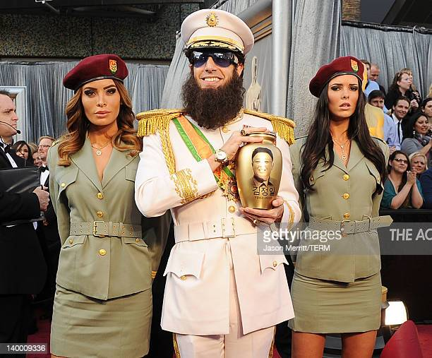 Actor Sacha Baron Cohen, dressed as his character 'General Aladeen,' arrives at the 84th Annual Academy Awards held at the Hollywood & Highland...
