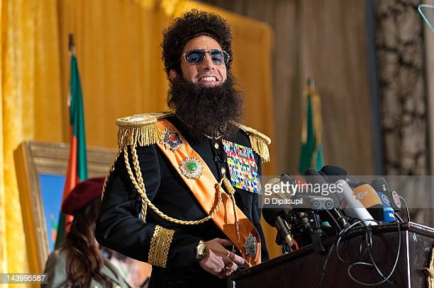 "Actor Sacha Baron Cohen portrays Admiral General Aladeen at ""The Dictator"" press conference at The Waldorf=Astoria on May 7, 2012 in New York City."