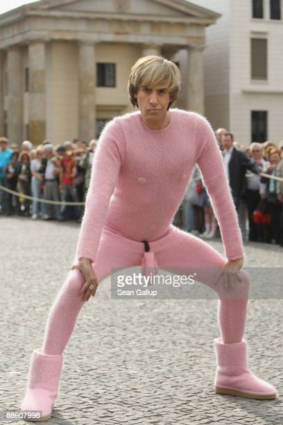 Actor Sacha Baron Cohen poses during a photocall for his new film 'Bruno' in front of the Brandenburg Gate on June 21 2009 in Berlin Germany