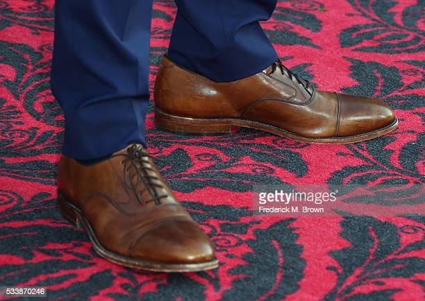 Actor Sacha Baron Cohen shoe detail attends the premiere of Disney's 'Alice Through The Looking Glass at the El Capitan Theatre on May 23 2016 in...