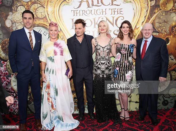 Actor Sacha Baron Cohen singersongwriter Pnk actors Johnny Depp Mia Wasikowska Anne Hathaway and Matt Lucas attend the premiere of Disney's 'Alice...