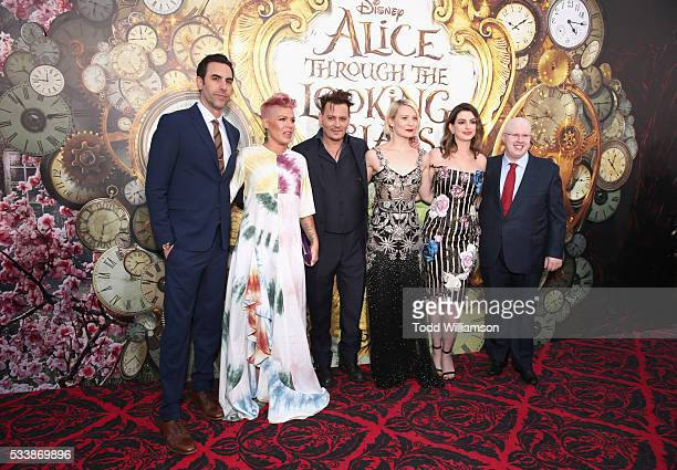 Actor Sacha Baron Cohen singersongwriter Pnk actors Johnny Depp Mia Wasikowska Anne Hathaway and Matt Lucas attend the premiere of Disney's 'Alice...