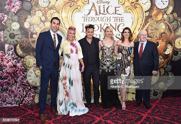 Actor Sacha Baron Cohen singersongwriter Pnk actors Johnny Depp Mia Wasikowska Anne Hathaway and Matt Lucas attend Disney's 'Alice Through the...