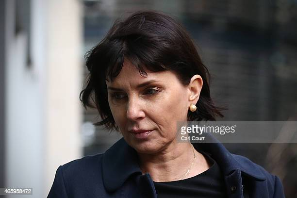 Actor Sadie Frost arrives at the Royal Courts of Justice on March 12 2015 in London England Frost along with other celebrities and prominent...