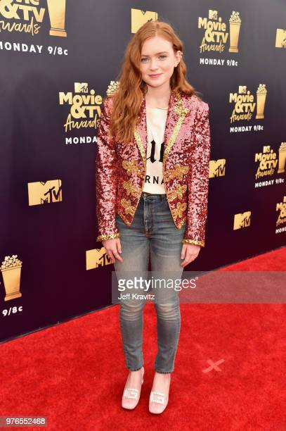 Actor Sadie Sink attends the 2018 MTV Movie And TV Awards at Barker Hangar on June 16 2018 in Santa Monica California