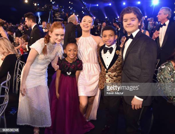 Actor Sadie Sink Faithe C Herman Millie Bobby Brown Miles Brown and Gaten Matarazzo pose during the 24th Annual Screen Actors Guild Awards at The...