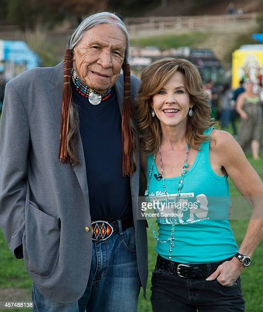 Actor Saginaw Grant and actress Linda Blair attend Street Food Cinema screening of The Exorcist at Eagle Rock Recreation Center Field on October 18...