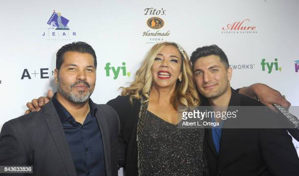 Actor Sal Velez Jr Host/Executive Producer Kiki Melendez and cohost Lamar Babi arrive for the Premiere Of Latin Hollywood Films And FYI Network's...