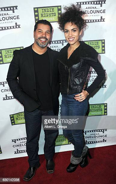 Actor Sal Velez Jrand actress Andrea Sixtos arrive for the Screening Of 'The Boatman' held at Arena Cinelounge on December 16 2016 in Hollywood...