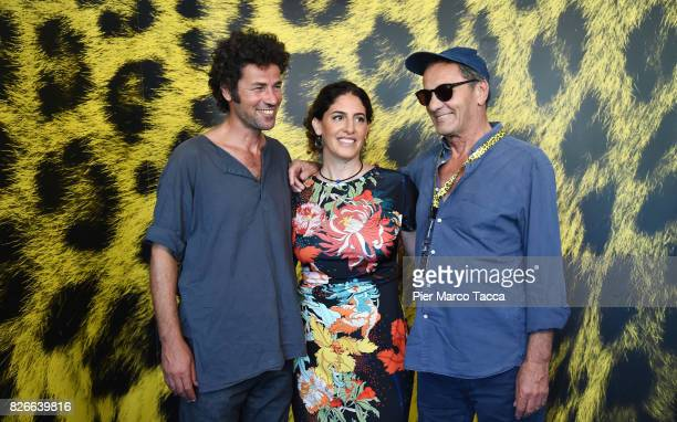Actor Saleh Bakri Director Annemarie Jacir and Mohammad Bakri attend the 'Wajib' photocall during the 70th Locarno Film Festival on August 5 2017 in...