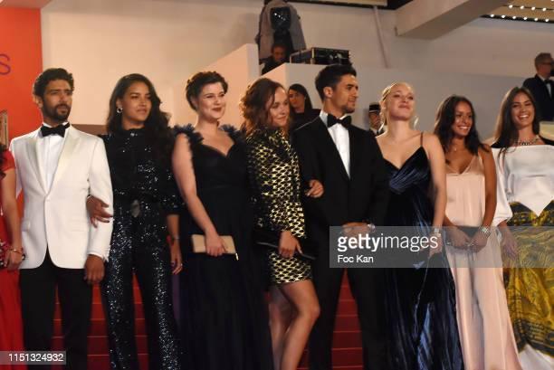 Actor Salim Kechiouche, an actress, Alexia Chardard, Lou Luttiau, actor Shain Boumedine, Marie Bernard, Mel Einda El Asfour and Ophelie Bau attend...