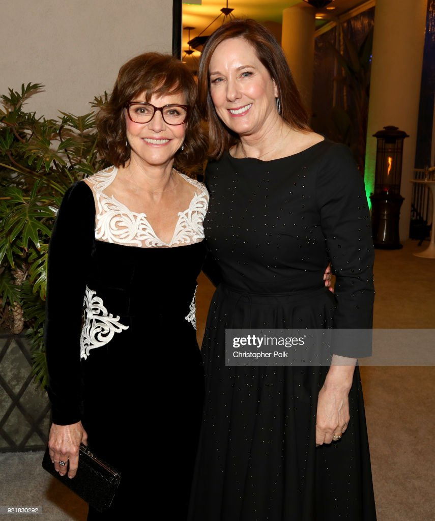 Actor Sally Field (L) and producer Kathleen Kennedy attend the Costume Designers Guild Awards at The Beverly Hilton Hotel on February 20, 2018 in Beverly Hills, California.