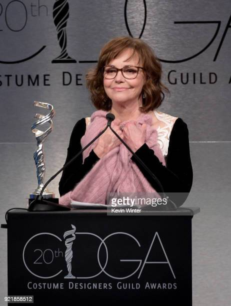 Actor Sally Field speaks onstage during the Costume Designers Guild Awards at The Beverly Hilton Hotel on February 20 2018 in Beverly Hills California