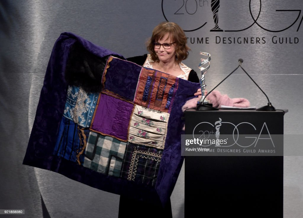 Actor Sally Field speaks onstage during the Costume Designers Guild Awards at The Beverly Hilton Hotel on February 20, 2018 in Beverly Hills, California.
