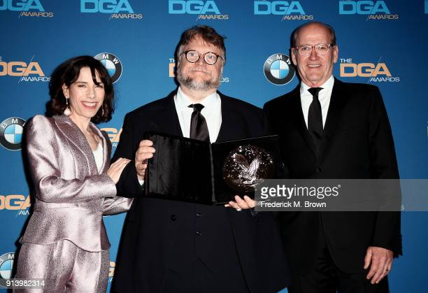Actor Sally Hawkins director Guillermo del Toro recipient of the Nomination Medallion for Outstanding Directorial Achievement in Feature Film for...