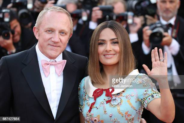 Actor Salma Hayek and FrancoisHenri Pinault attend the 70th Anniversary of the 70th annual Cannes Film Festival at Palais des Festivals on May 23...