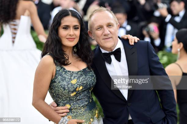 Actor Salma Hayek and FrancoisHenri Pinault attend the Heavenly Bodies Fashion The Catholic Imagination Costume Institute Gala at The Metropolitan...