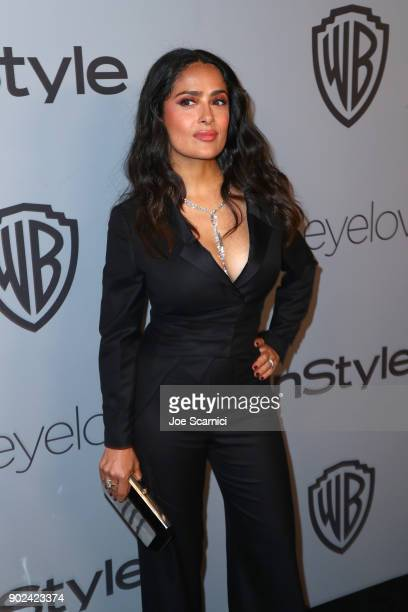 Actor Salma Hayek attends the 2018 InStyle and Warner Bros 75th Annual Golden Globe Awards PostParty at The Beverly Hilton Hotel on January 7 2018 in...