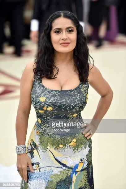 Actor Salma Hayek attends the Heavenly Bodies Fashion The Catholic Imagination Costume Institute Gala at The Metropolitan Museum of Art on May 7 2018...