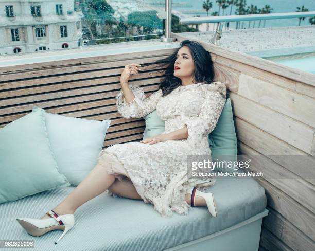 Actor Salma Hayek is photographed at the 71st Cannes Film Festival for Paris Match on May 13 2018 in Cannes France