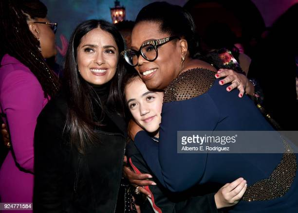 Actor Salma Hayek Valentina Paloma Pinault and actor Oprah Winfrey at the world premiere of Disney's 'A Wrinkle in Time' at the El Capitan Theatre in...
