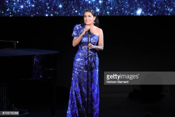 Actor Salma Hayek wearing Gucci speaks onstage during the 2017 LACMA Art Film Gala Honoring Mark Bradford and George Lucas presented by Gucci at...