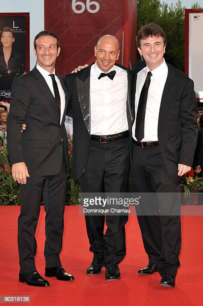 Actor Salvatore Ficarra director Aldo Baglio and actor Valentino Picone attend the Opening Ceremony and Baaria Premiere at the Sala Grande during the...