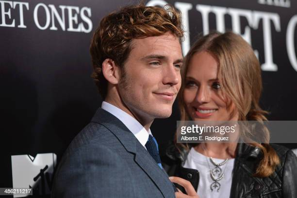 Actor Sam Claflin and Laura Haddock arrive to the Los Angeles Premiere of Lionsgate Films' 'The Quiet Ones' at The Theatre At Ace Hotel on April 22...