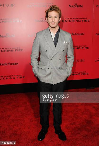 Actor Sam Claflin arrives at the Los Angeles Premiere 'The Hunger Games Catching Fire' at Nokia Theatre LA Live on November 18 2013 in Los Angeles...