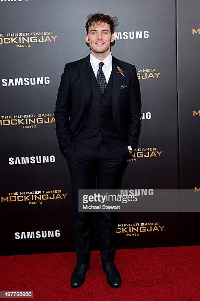 Actor Sam Claflin attends 'The Hunger Games Mockingjay Part 2' New York premiere at AMC Loews Lincoln Square 13 theater on November 18 2015 in New...