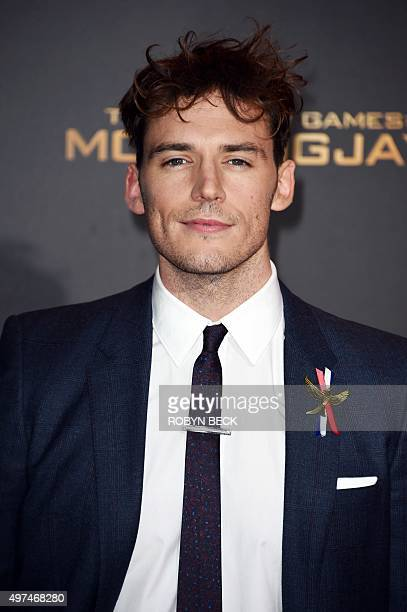 """Actor Sam Claflin attends the premiere of """"The Hunger Games: Mockingjay - Part 2"""" at the Microsoft Theater in Los Angeles, California, November 16,..."""