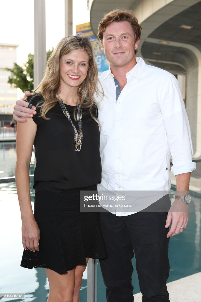 Actor Sam Daly (R) and Marissa Bataille attend the Opening Night of 'Heisenberg' at Mark Taper Forum on July 6, 2017 in Los Angeles, California.