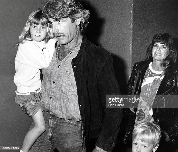 Actor Sam Elliott actress Katharine Ross and daughters Cleo Elliott and Rose Elliott attening The Moscow Circus on March 14 1990 at the Great Western...