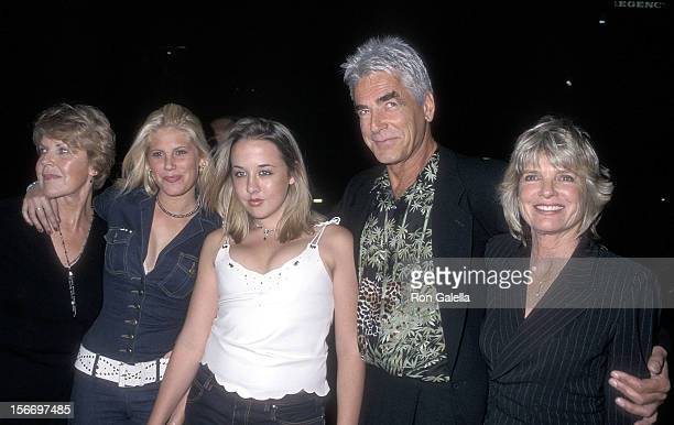 Actor Sam Elliott actress Katharine Ross daughter Cleo Rose Elliott and family attend The Contender Westwood Premiere on October 5 2000 at the Mann...