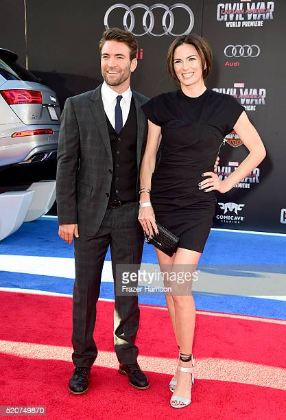 Actor Sam Hargrave and stuntwoman Monique Ganderton attend the premiere of Marvel's 'Captain America Civil War' at Dolby Theatre on April 12 2016 in...