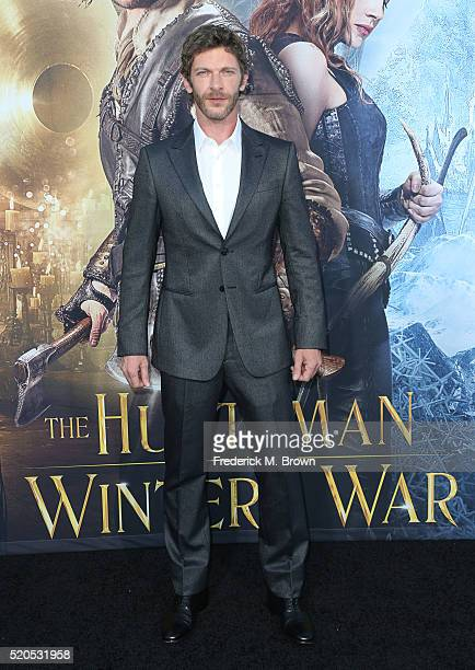 Actor Sam Hazeldine attends the premiere of Universal Pictures' 'The Huntsman Winter's War' at the Regency Village Theatre on April 11 2016 in...