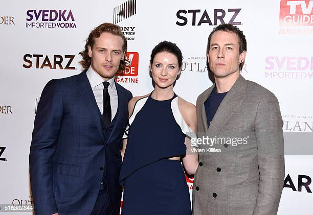Actor Sam Heughan actress Caitriona Balfe and actor Tobias Menzies attend TV Guide Magazine Celebrates STARZ's 'Outlander' at Palihouse on March 30...