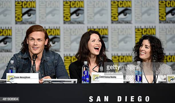 """Actor Sam Heughan, actress Caitriona Balfe and producer Maril Davis attend the Starz: """"Outlander"""" panel during Comic-Con International 2015 at the..."""