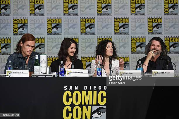 """Actor Sam Heughan, actress Caitriona Balfe, producer Maril Davis and writer/producer Ronald D. Moore attend the Starz: """"Outlander"""" panel during..."""
