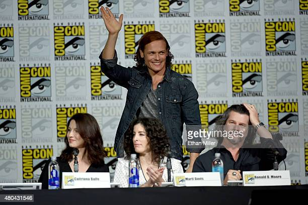 """Actor Sam Heughan and actor Caitriona Balfe, producer Maril Davis and writer/producer Ronald D. Moore attend the Starz: """"Outlander"""" panel during..."""