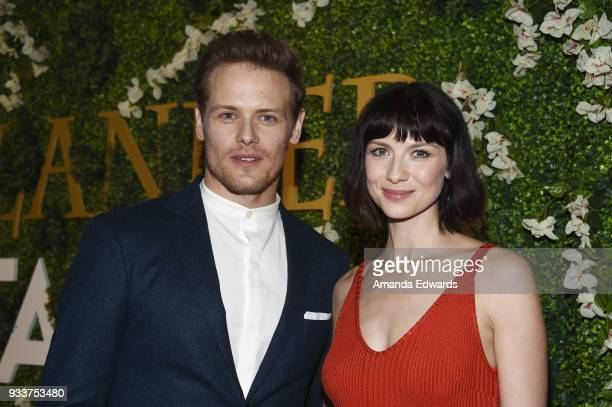 Actor Sam Heughan and actress Caitriona Balfe arrive at Starz's Outlander FYC Special Screening and Panel at the Linwood Dunn Theater at the Pickford...