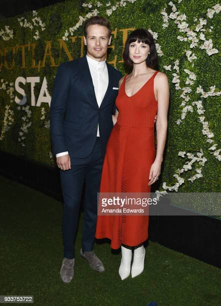 Actor Sam Heughan and actress Caitriona Balfe arrive at Starz's 'Outlander' FYC Special Screening and Panel at the Linwood Dunn Theater at the...