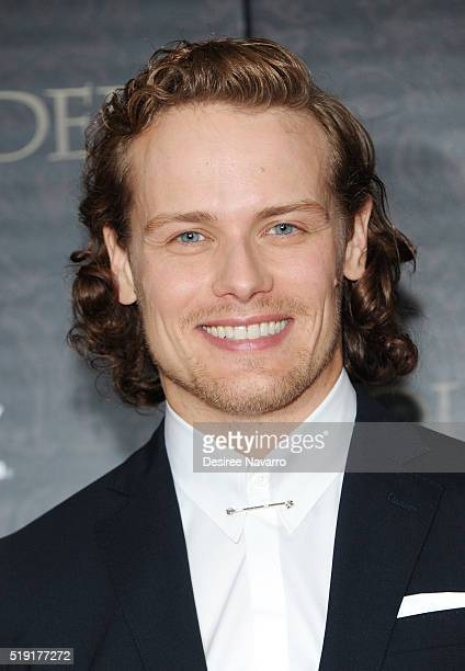 Actor Sam Heughan attends 'Outlander' Season Two World Premiere at American Museum of Natural History on April 4 2016 in New York City