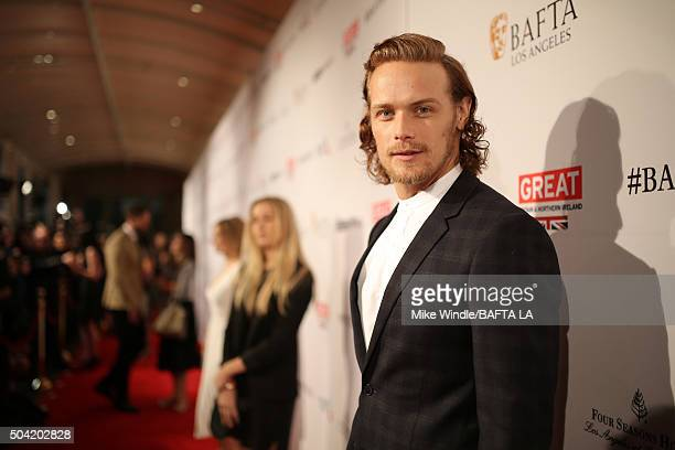 Actor Sam Heughan attends the BAFTA Los Angeles Awards Season Tea at Four Seasons Hotel Los Angeles at Beverly Hills on January 9 2016 in Los Angeles...