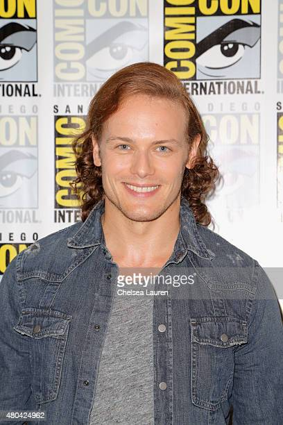 Actor Sam Heughan attends the 'Outlander' press room during ComicCon International 2015 at the Hilton Bayfront on July 11 2015 in San Diego California