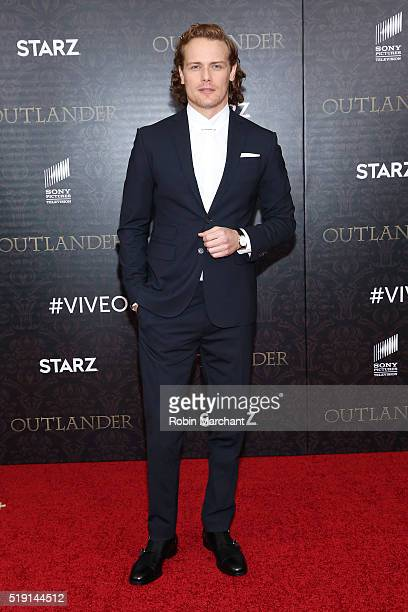 Actor Sam Heughan attends the Outlander Season Two World Premiere at American Museum of Natural History on April 4 2016 in New York City